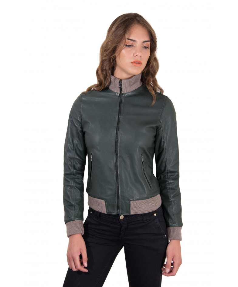 Green Color Lamb Leather Bomber Jacket Vintage Effect