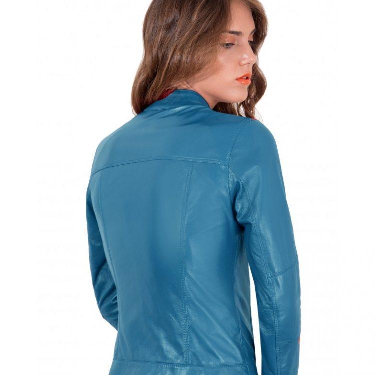 Blue Avion Color Lamb Leather Jacket Biker Smooth Effect