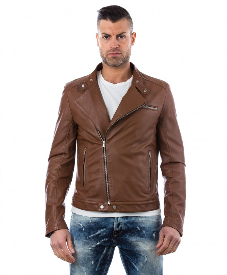 men-s-leather-jacket-genuine-soft-leather-biker-mao-collar-cross-zip-tan-color-mod-raniero-chiodo