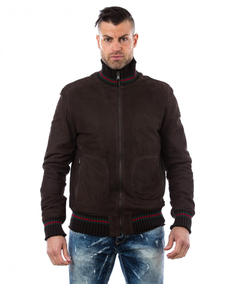 men-s-leather-jacket-genuine-soft-leather-nabuk-style-bomber-wool-cuffs-and-bottom-central-zip-dark-brown-color-mod-vito