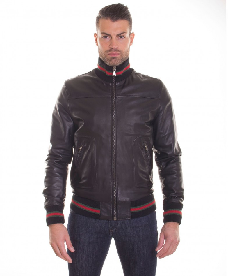 men-s-leather-jacket-genuine-soft-leather-style-bomber-bicolor-wool-cuffs-and-bottom-central-zip-black-color-mod-alex