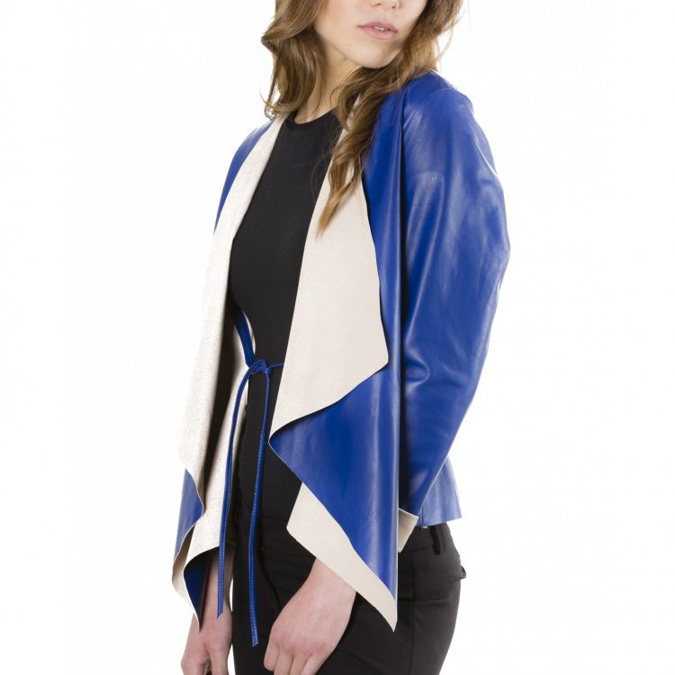 Blue Colour Nappa Lamb Leather Jacket Smooth Effect
