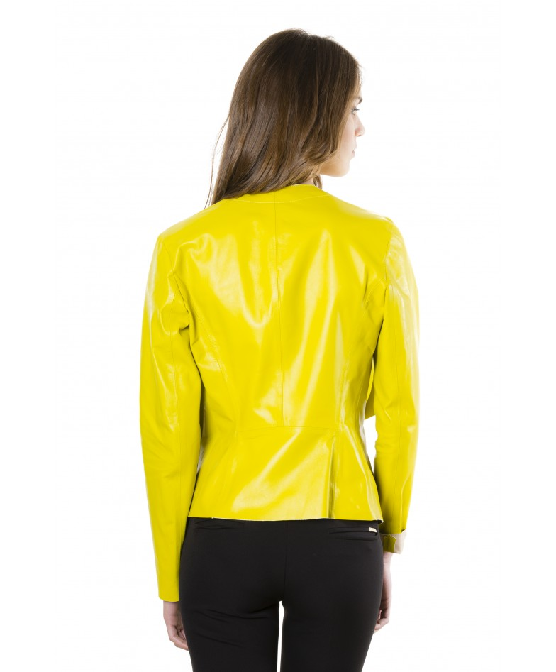 Yellow Colour Nappa Lamb Leather Jacket Smooth Effect