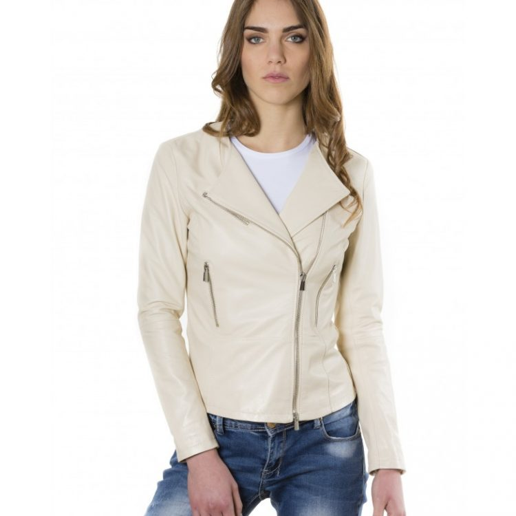Beige Color - Nappa Lamb Leather Jacket Smooth Effect