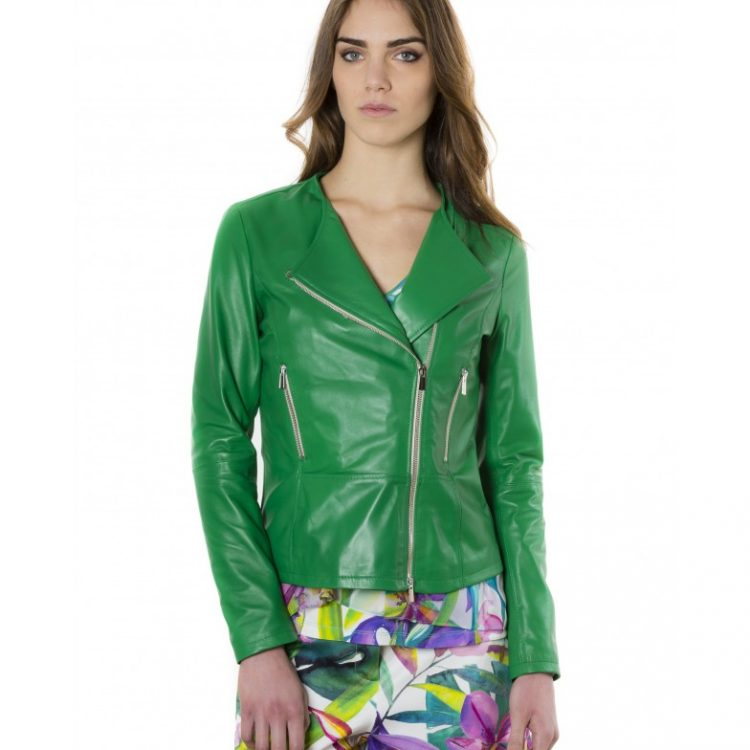 Green Color Nappa Lamb Leather Jacket Smooth Effect