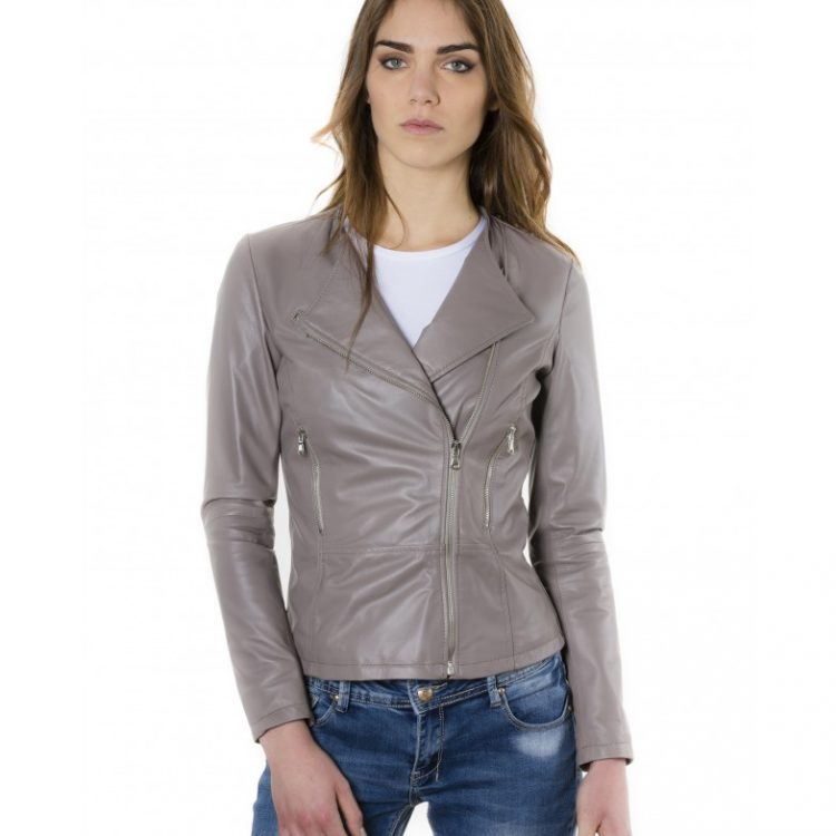 Grey Color Nappa Lamb Leather Jacket Smooth Effect